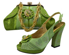 High Quality wedge Square heel Shoes Match Bag For Lady heel hight 11cm lemon green SY50608-1
