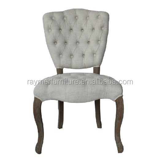 Upholstery tufted button white wood wedding dining chair for White wood upholstered dining chairs