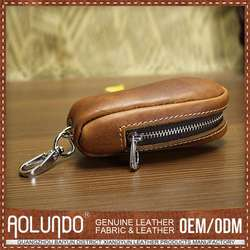 New Arrived Fashion Design Custom Made Leather Coin Bag With Keychain