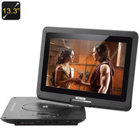 13.3 Inch Screen Portable Multimedia DVD Player - Copy Function, Game Function, TV Antenna, 270 Degree Swivel Screen