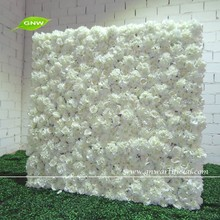 GNW 5ft white artificial rose and hydrangea wedding decoration flower wall for backdrop wedding decoration