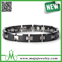 Men classic jewelry ceramic stainless steel blood pressure control bracelet