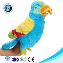 2015 Colorful parrot hand puppet promotional cute parrot plush toy stuffed soft plush parrot puppet