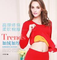 women cotton spendex wool winter thermal underwear warm shirt and pants long john female Long sleeved