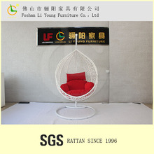 LOW MOQ indoor rattan swing chair with red cushion for living room furniture LG-S-4