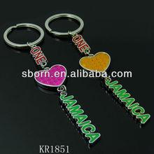 lovely Jamaica heart shape keychian hot sale key ring