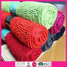 Luxury absorbent rug Slip-resistant SBR/PVC Backing Shaggy Microfiber Chenille Bath Mat,Anti Slip Mat