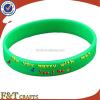 colorful round cheap custom silicon rubber band bracelet with printing logo