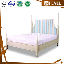 White & Blue colour 1.5m & 1.8m bed solid wood Bedroom furniture