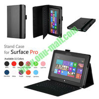 Leather Case Cover for Microsoft Surface Pro with Stand(Black)