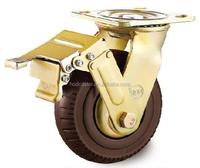 150 mm Swivel Wheel Lock Foaming Double Ball Bearing Caster 5mm bracket
