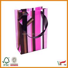 Pink and Brown Stripe Bag - Medium