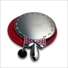 custom silver cosmetic mirror, zinc alloy round make up mirror with handle