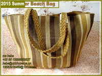 Straw Beach Bag for 2015 Summer Paper Straw Shopping Bag Stripe design