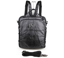 Genuine Leather Old School Bag Black Backpack Travel for Business #7279A