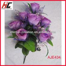 Wholesale silk flowers purple rose flower royal blue silk flowers