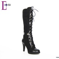 2015 new arrival fashion women black lace up suede thigh high boots