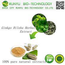 GMP manufacturers Natural organic ginkgo biloba herbal extract;Ginkgo Biloba Extract Powder by HPLC CAS: 90045-36-6