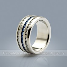 2015 New Design Women Blue Crystal Stainless Steel Ring Titanium Ring Wedding Rings With Sapphire CZ Diamond TG731R