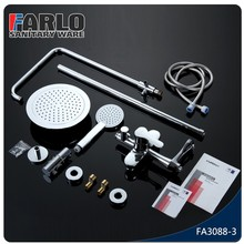 FARLO China modern brass chrome bathroom big rain bath shower set
