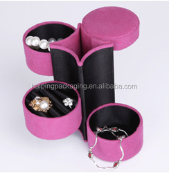 High Quality Luxury Custom logo fashion Round Jewelry Case with window /Paper Jewelry case Made In China