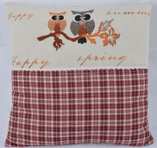 Linen and Cotton red and white color square shape pillow with tow owls design for home decoration