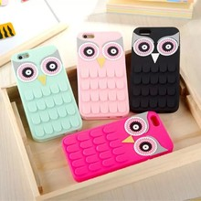 Hot sale cute 3D night owl silicone phone case for iphone 6 case