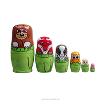 6PCS Lovely Animal Wooden Russian Nesting Dolls Matryoshk Traditional Matryoshka Handmade Toy