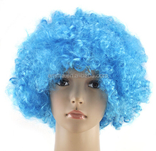 Fancy Dress Sky Blue Color Afro Curly Wigs Funky Disco Clown Style Mens/Ladies Costume 70s wigs Hair W2087