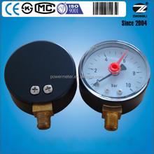 2 inch 10 bar standard steam pressure gauge with red recording alarm