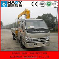 FOTON 4*2 mini cargo truck,telescopic booms truck mounted crane for sale