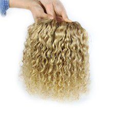 blonde curly remy weft hair;goddess remi hair