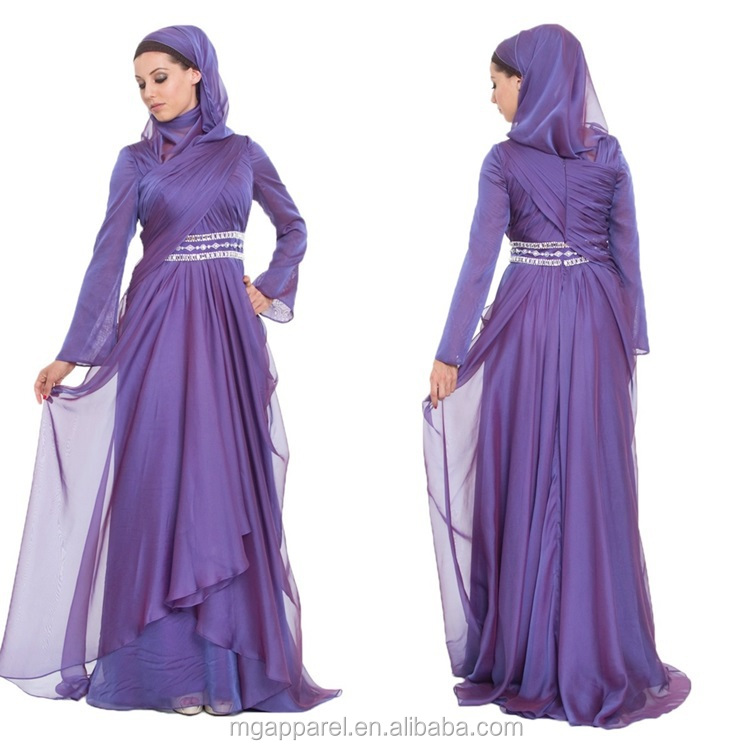 Latest Muslim Women Formal Dress Patterns Purple Silk Chiffon Maxi