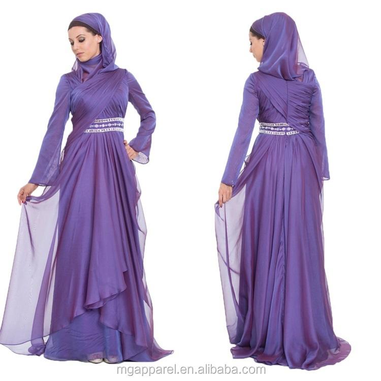 Latest Muslim Women Formal Dress Patterns Purple Silk Chiffon Maxi ...