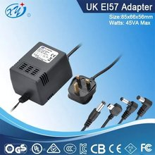 BS plug 240v ac to 12v ac power adaptor