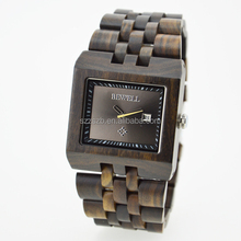 Unisex hand made bewell wooden watches quartz wrist black square wood watch