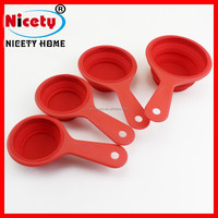 Eco-friendly kitchen 4pcs red silicone measuring spoon set