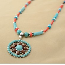 C84254A Alloy resin necklace,international lady necklace