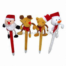 Promotional Christmas Plush Toy Ballpoint Pens, Made of Plush Ballpoint Pens Manufacturer