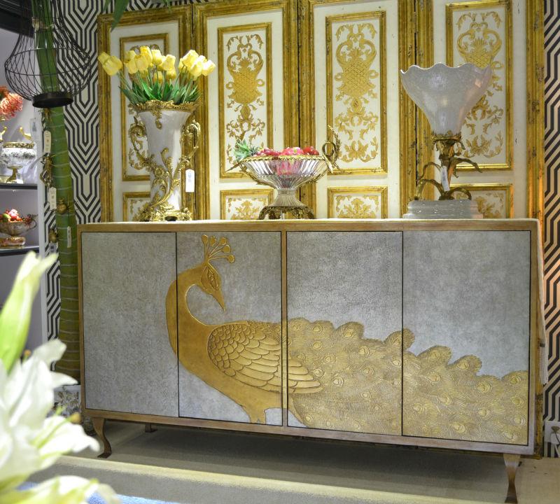 Pintado a mano de pavo real de oro tv gabinete dise o - Royal design muebles ...
