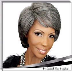 Fatory supply grey haman hair full lace wig for old women