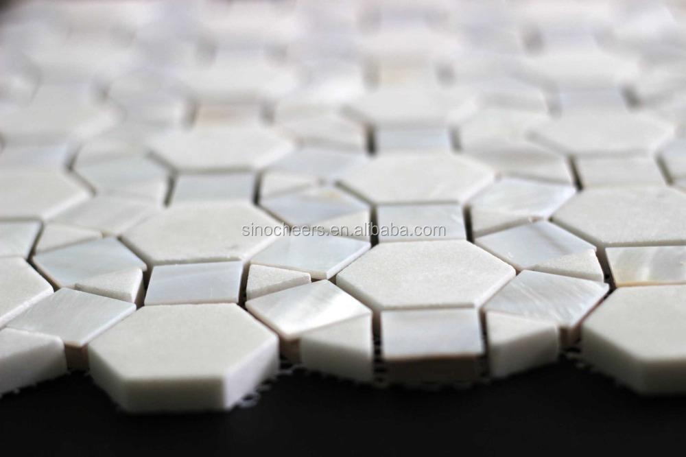 Shell driehoek en vierkante mix kristal witte natuursteen ...
