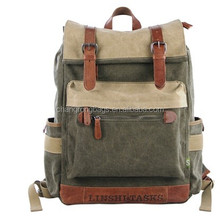 Women vintage waxed canvas hiking backpack