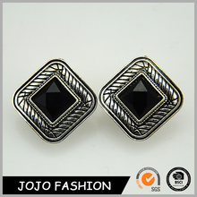 New design rhodium plated big fake square jewelry black earring
