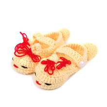 Yellow color cute baby fish type crochet baby shoes , handmade baby shoes NO.MXXPS0409