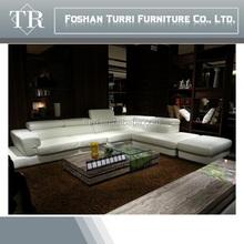 2015 Modern big white leather corner half round leather sofa