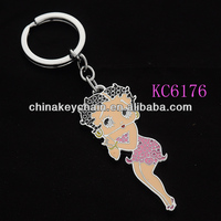 Hot new products for 2014 various open hot sexy girl metal design fashion keychain