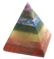 Seven Chakra Bonded Natural Pyramids