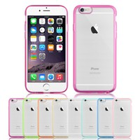 THIN TRANSPARENT HARD SILICONE BACK SOFT TPU BUMPER COVER CASE FOR IPHONE 6 4.7""