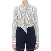 woman clothing fashion big bow strip printed chiffon blouse